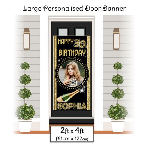 Personalised Happy Birthday Door PHOTO Banner Poster ~ Champagne Black & Gold Sparkle N5